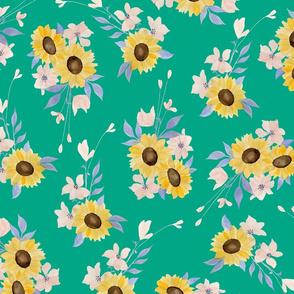 Ditsy Sunflowers Jade