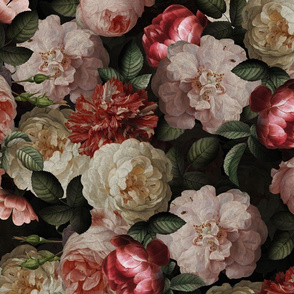 """21"""" Antique Jan Davidsz. de Heem Lush Roses Flowers On Black"""