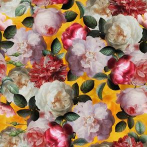 """14"""" Antique Jan Davidsz. de Heem Lush Roses Flowers On Black"""