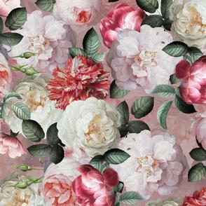 """21"""" Antique Jan Davidsz. de Heem Lush Roses Flowers On Mauve"""