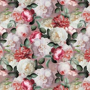 """14"""" Antique Jan Davidsz. de Heem Lush Roses Flowers On Mauve"""
