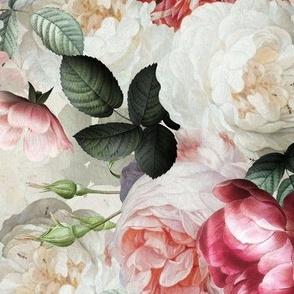 """12"""" Antique Jan Davidsz. de Heem Lush Roses Flowers gold"""