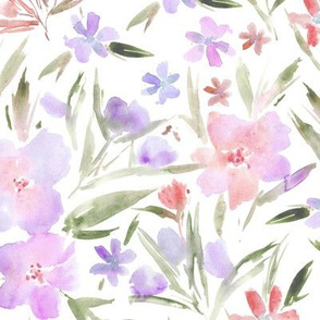 Blush pink royal garden ★ pastel watercolor flowers for modern home decor, bedding, nursery