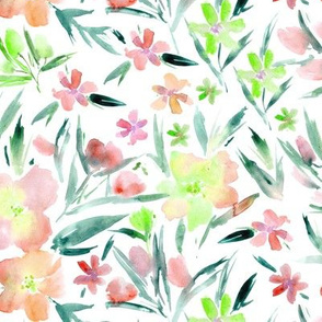 Soft coral royal garden - watercolor flowers for modern home decor, bedding, nursery