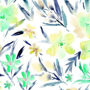 Watercolor royal garden in emerald and mustard ★ painted florals for modern home decor, bedding, nursery