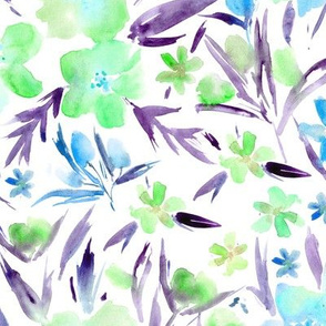 Mint and amethyst royal garden - watercolor flowers, painted florals