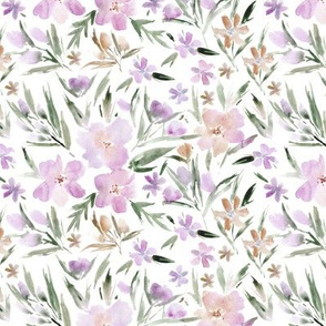 Blush mauve royal garden ★ watercolor pastel saturated florals for modern home decor, nursery