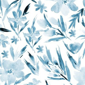 Indigo ethereal watercolor flowers - blue florals for modern home decor, bedding, nursery