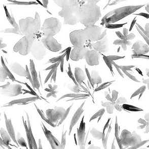 Noir royal garden ★ watercolor flowers in shades of grey for modern minimal scandi home decor, bedding, nursery