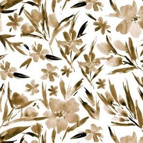Earthy boho royal garden - watercolor neutral flowers p268
