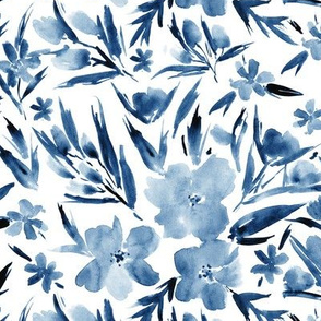 Classic blue royal garden ★ watercolor tonal flowers for modern scandi home decor, bedding, nursery