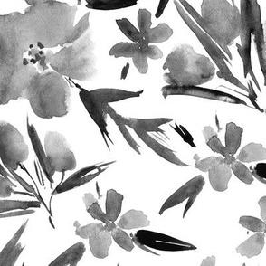 Noir royal garden ★ watercolor flowers for modern home decor, bedding, nursery