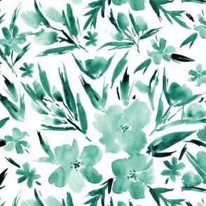 Emerald royal garden - watercolor tonal turquoise florals p268