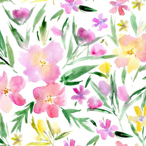 Watercolor royal garden ★ large scale pink painted flowers for modern home decor, bedding, nursery