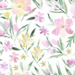 Tender royal garden ★ watercolor pastel flowers for modern home decor, bedding, nursery