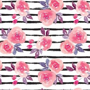 Stripes and blush pink watercolor flowers small scale