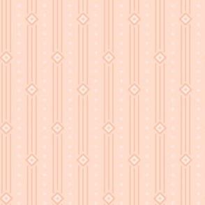 Peach Summer Stripe: Blushing Peach Diamond Stripe, Thin Stripe