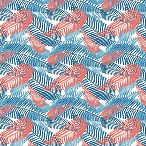 Carnival Leaves - Coral & Blue