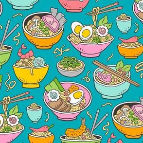 Noodles Ramen Food on Teal