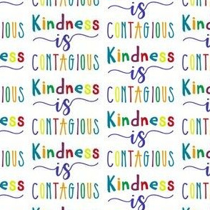 Kindness is contagious text in multicolors - be nice
