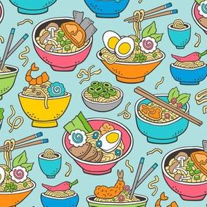 Noodles Ramen Food Blue on Blue