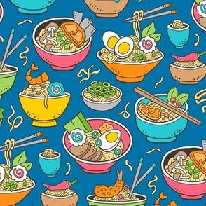 Noodles Ramen Food Blue on Dark Blue