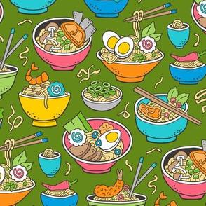 Noodles Ramen Food Blue on Green