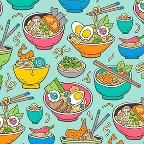 Noodles Ramen Food on Blue on Mint Green