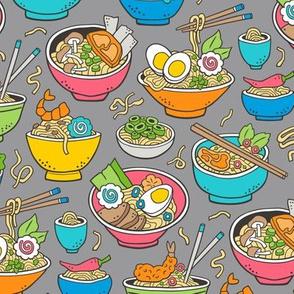 Noodles Ramen Food Blue on Grey