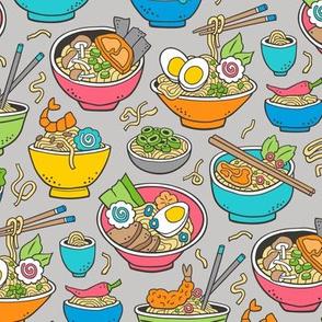 Noodles Ramen Food Blue on Light Grey