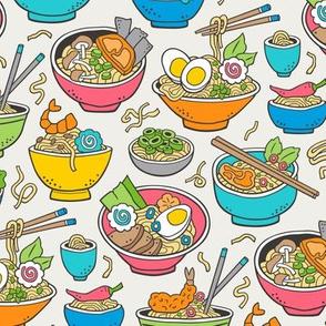 Noodles Ramen Food Blue on Cloud Grey