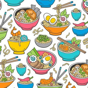 Noodles Ramen Food Blue on White