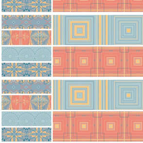 Collage of Blues, Gold, Corals & Terra Cotta Tiles