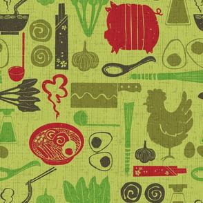 Let's cook Ramen Noodle! lime green