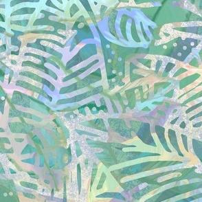 Batik Leaves Teal Aqua 300