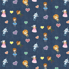 Wizard of Oz and Gingham Hearts on Blue Denim