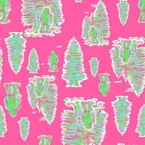 Neon Bigfoot on pink