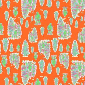 Neon Bigfoot on Orange