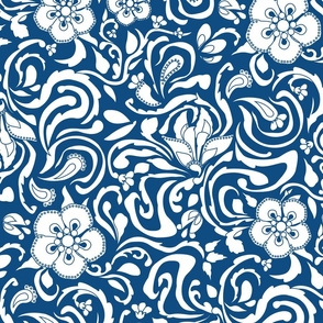 Floral Damask Large White On Classic  Blue