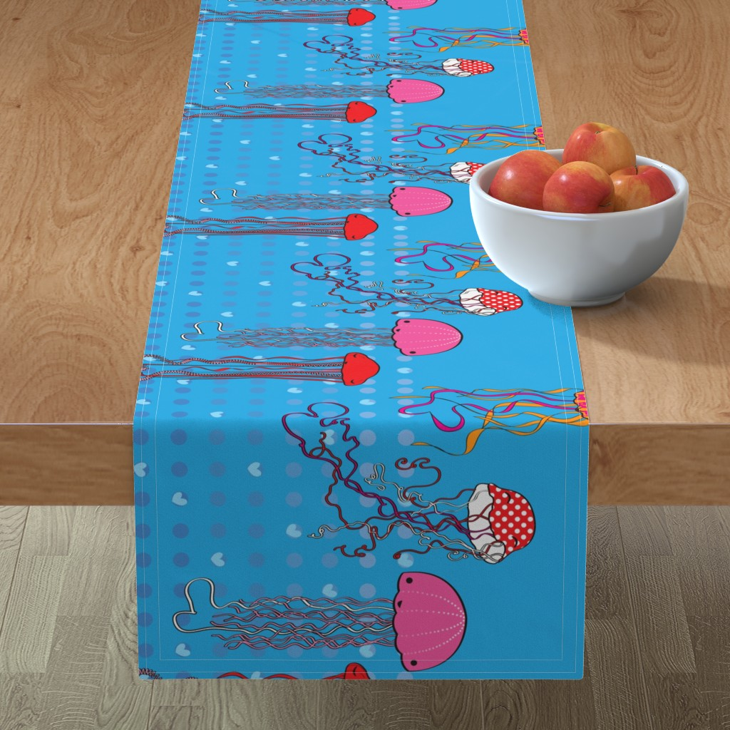 Minorca Table Runner featuring Jellyfish Valentines (border) by majobv
