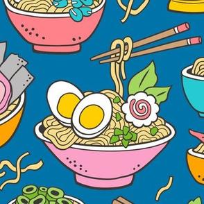 Noodles Ramen Food on Dark Blue Large