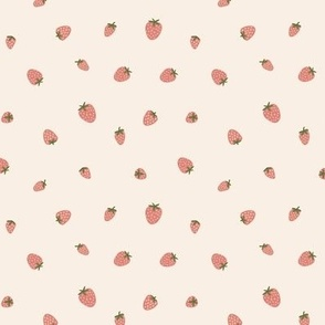 Strawberry on light cream background