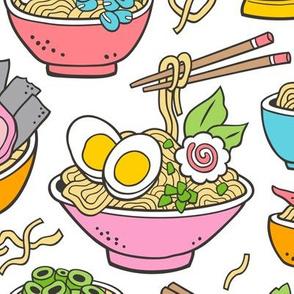 Noodles Ramen Food Pink on White Large