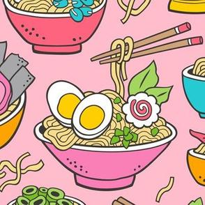Noodles Ramen Food on Pink Large