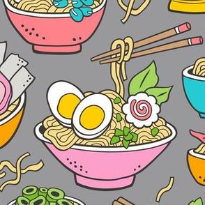 Noodles Ramen Food on Grey Large
