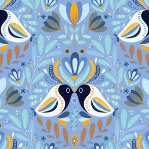 Boho Folk Blue Birds Calm, Paradise bird Love, Forest Botanical
