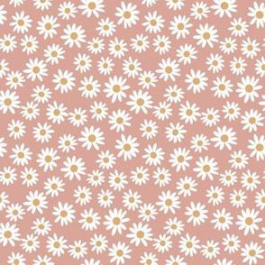 SMALL daisy print fabric - daisies, daisy fabric, baby fabric, spring fabric, baby girl, earthy - apricot
