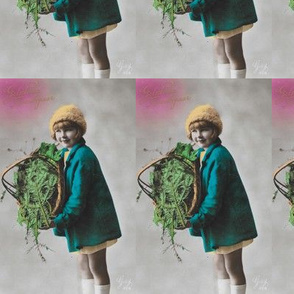 cute girl with basket goes retro