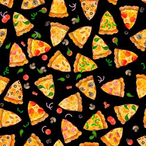 Watercolor Pizza Slices Fast Food Black