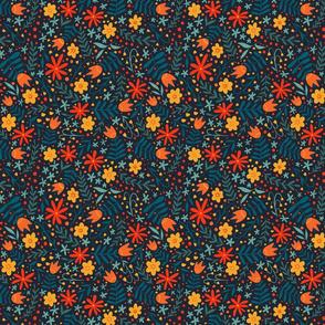 Bright Folk Floral - dark background - smaller scale